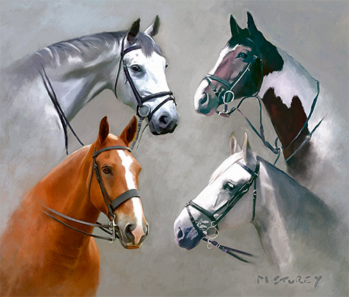 four horses in one painting